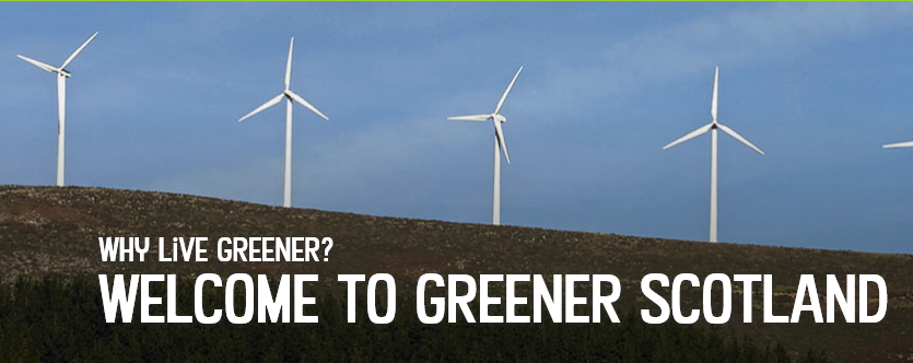 wind turbines and Greener Scotland text